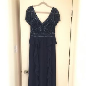 Adrianna Papell navy mother of groom a line gown